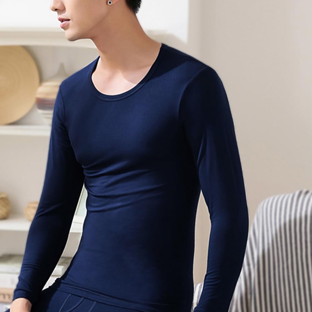 G+居家 男款輕磨毛暖暖發熱衣-圓領-深藍