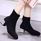 KEITH-WILL時尚鞋館-獨賣款春光燦爛絨面中筒靴-黑色