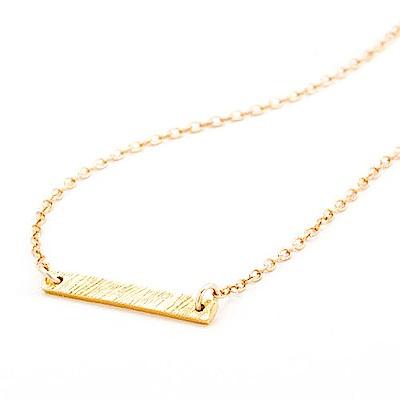 GORJANA 金色平衡骨項鍊 手工髮絲紋設計 鑲18K金 KNOX