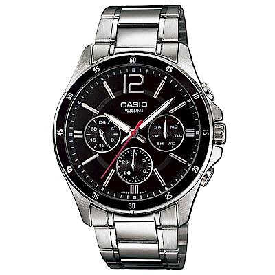 CASIO卡西歐 時尚三眼爵士石英腕錶 (MTP-1374D)-3色/47mm