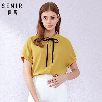 SEMIR森馬-雪紡綁帶優雅LOOK造型襯衫-女(3色)