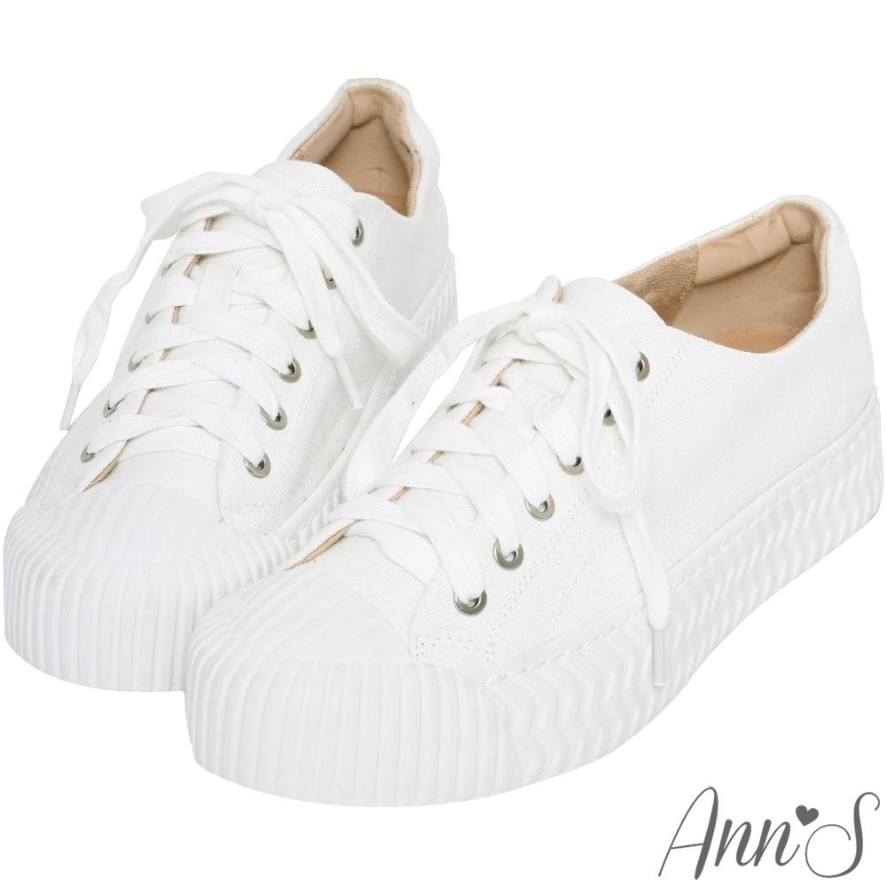 Ann'S黑科技-弄不髒防潑水綁帶帆布餅乾鞋-白