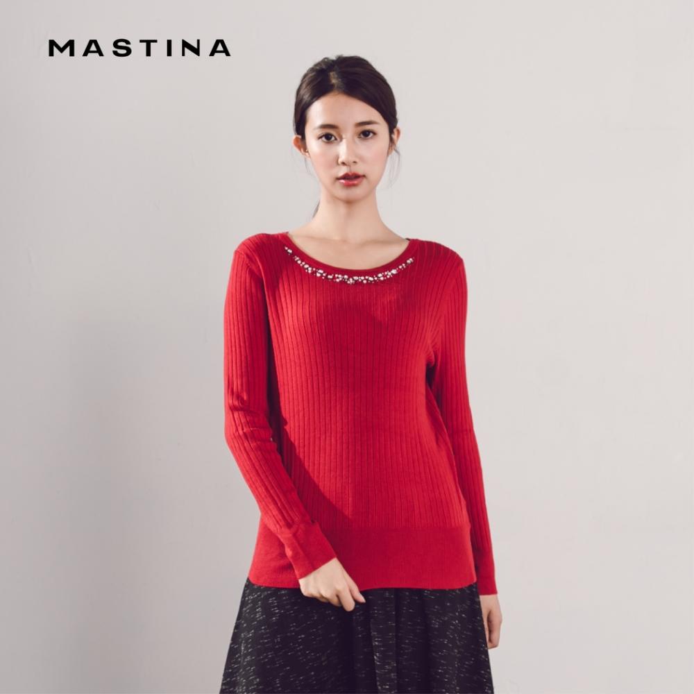 【MASTINA】領口珠飾造型款-針織衫(三色)