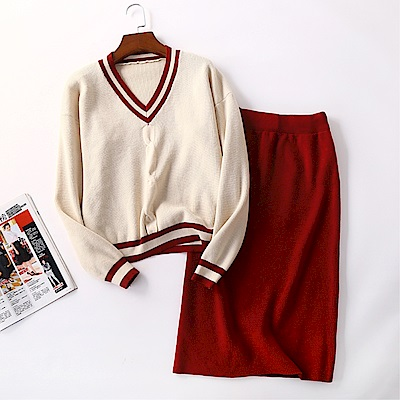 DABI 韓系V領針織衣包臀修身半身裙套裝長袖裙裝