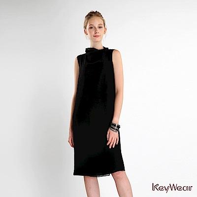 KeyWear 奇威名品    簡約修身長版無袖洋裝-黑色