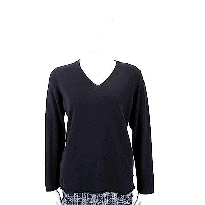 Andre Maurice 喀什米爾黑色捲邊細節V領羊毛衫