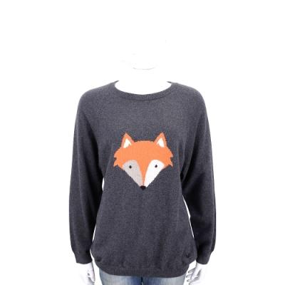 Andre Maurice 喀什米爾深灰色狐狸圖案羊毛衫
