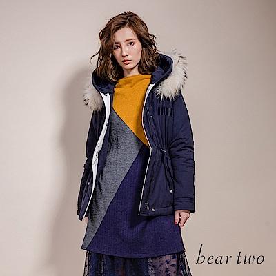 beartwo 幾何撞色拼接長版針織洋裝(二色)