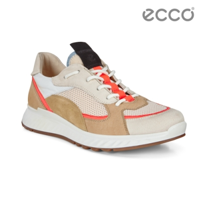 ECCO ST.1 W 舒適動能撞色皮革運動休閒鞋 女-裸/白/棕色