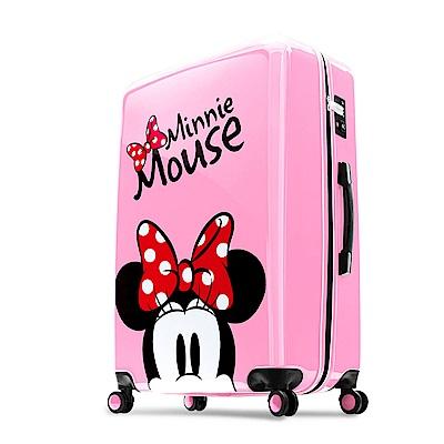 Disney 米奇奇幻之旅 28吋PC鏡面拉鍊行李箱-櫻花粉