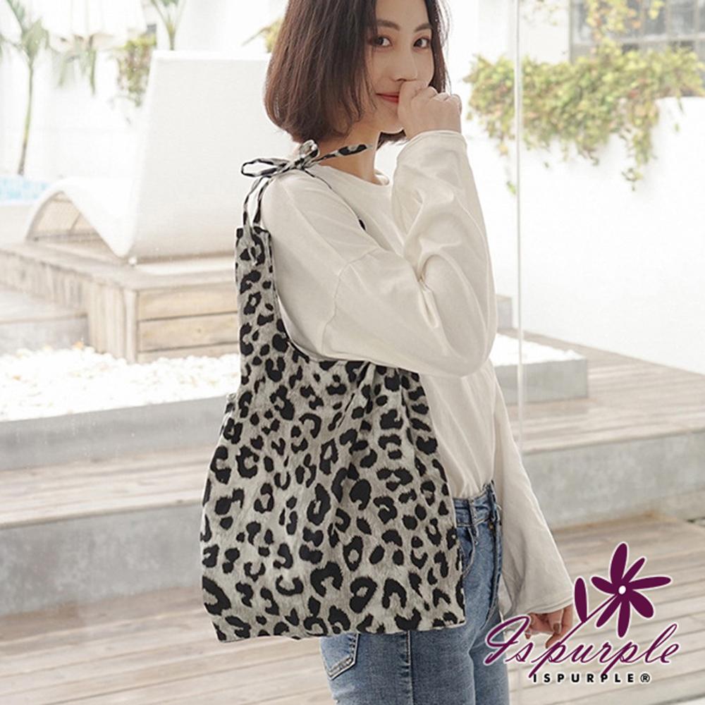 iSPurple 緞帶豹紋 輕巧大容量購物肩背手提包