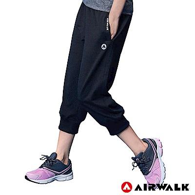 【AIRWALK】女款七分棉褲-黑色