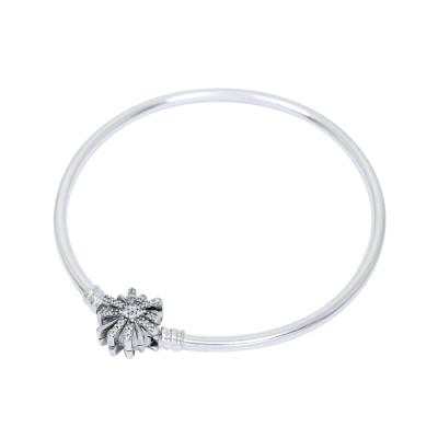 Pandora 潘朵拉 閃耀煙花扣頭 925純銀硬環手鍊手環