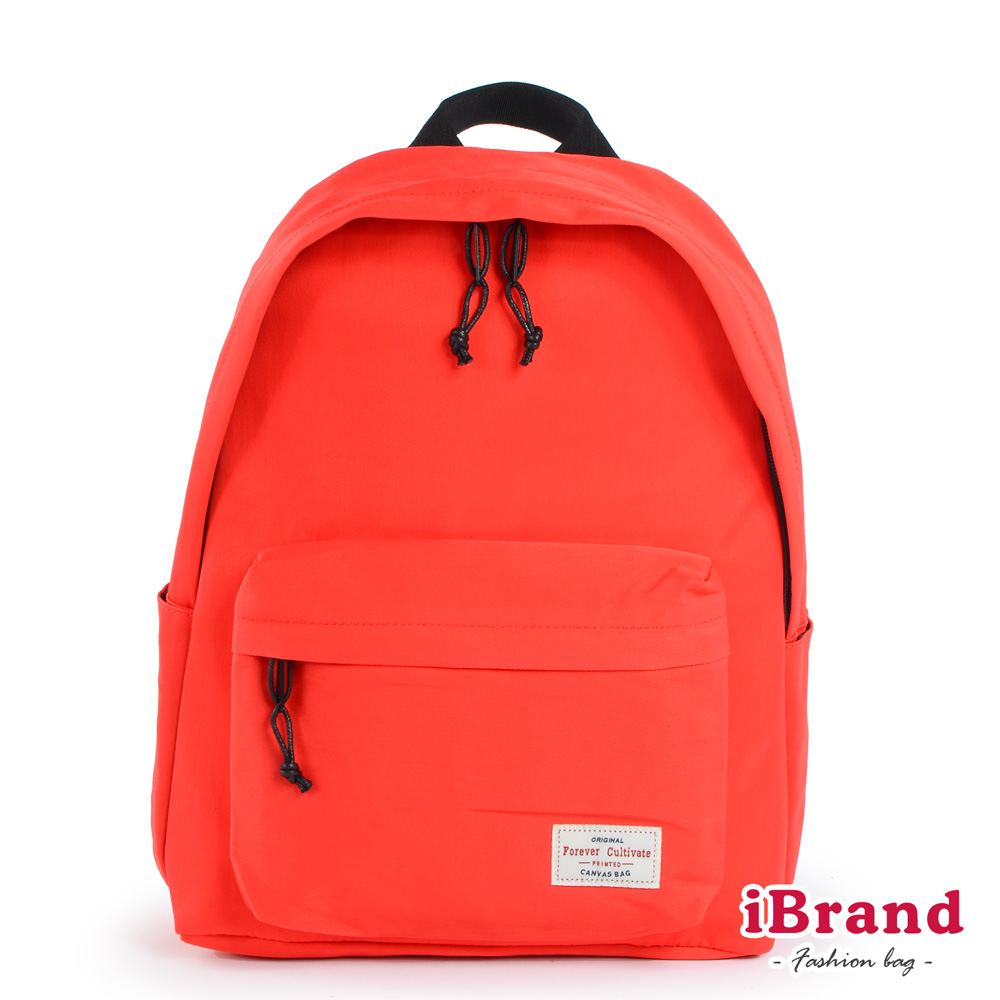 iBrand後背包 簡約素色帆布口袋後背包-魅力紅