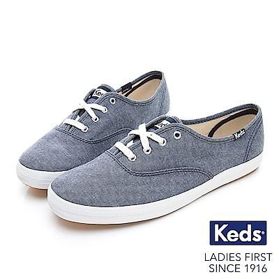 Keds CHAMPION 玩色經典綁帶休閒鞋-藍