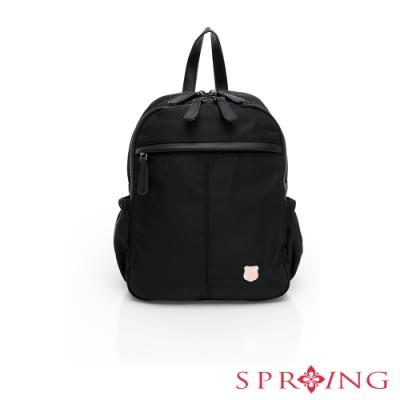 SPRING-經典質感系列尼龍後背包小號-經典黑