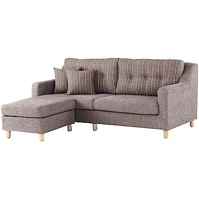文創集 曼瑟現代咖亞麻布L型沙發組合(三人座+椅凳)-200x161x80cm免組