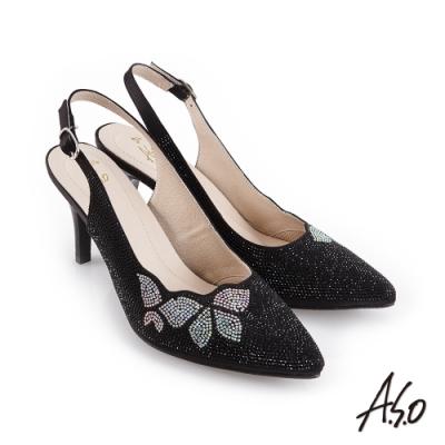 A.S.O 璀璨宴會 優雅時尚蝴蝶圖案燙鑽後拉帶中跟鞋-黑