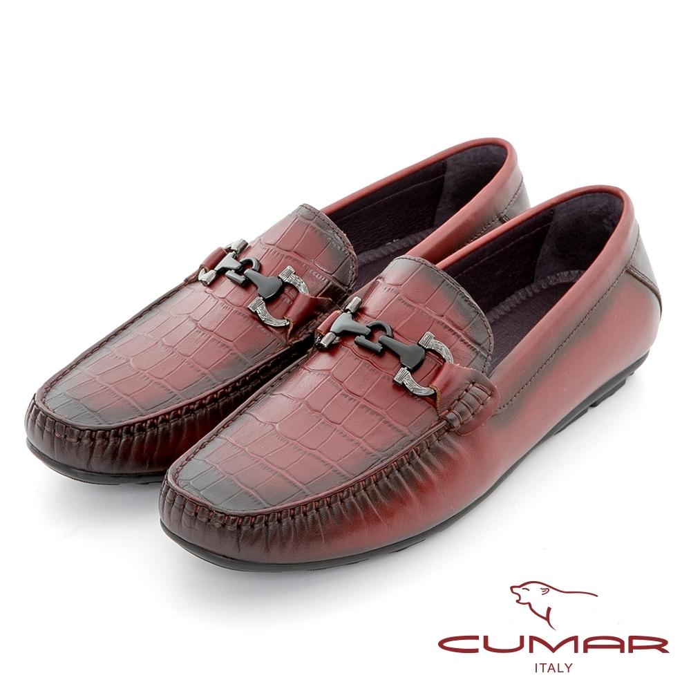 【CUMAR】樂活時尚 雅痞壓紋牛皮帆船鞋-酒紅