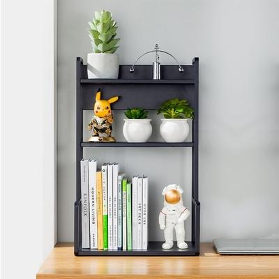 【HappyLife】H型桌面置物架花架-三層40cm(黑色) 40×22×61cm