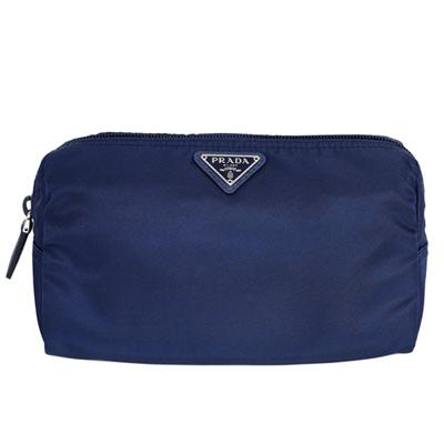 PRADA經典三角飾牌尼龍梯型拉鍊化妝包(深藍/大款)