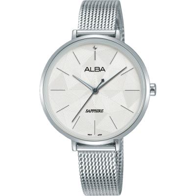 ALBA 雅柏 民族菱格風格時尚女錶(AH8685X1)-銀/34mm
