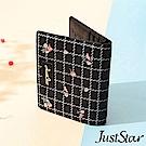 Just Star 格紋綉花對折短夾 百搭黑