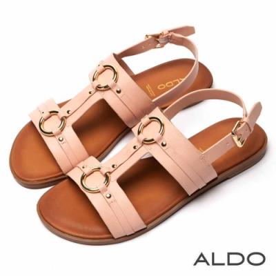 ALDO 原色真皮鞋墊佐金屬拉帶木紋跟涼鞋~氣質裸色