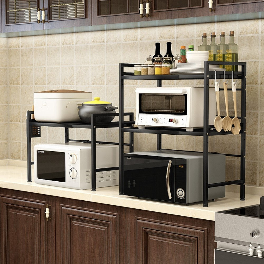 [時時樂限定] AOTTO 可伸縮微波爐架 廚房收納架-雙層(廚房置物架 收納架)