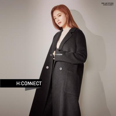 H:CONNECT 韓國品牌 女裝 - 簡約翻領羊毛外套 - 黑
