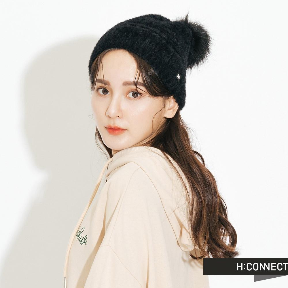 H:CONNECT 韓國品牌 配件 -絨毛球球毛帽 -黑(快)