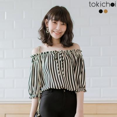 東京著衣 清新甜美條紋綁帶一字領上衣-S.M.L(共兩色)