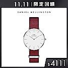 DW 手錶 32mm銀框 Petite 玫瑰紅織紋手錶