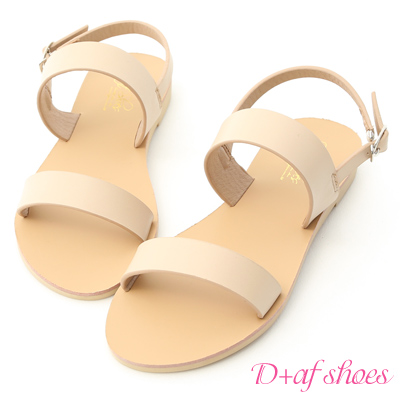 D+AF 簡約盛夏.百搭一字線條平底涼鞋*米