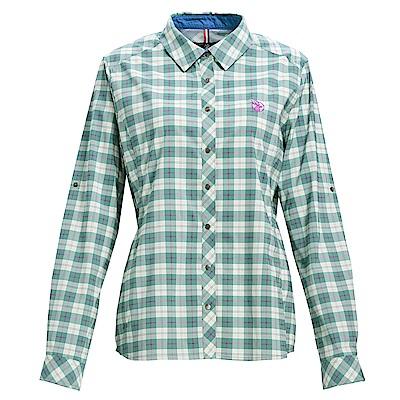 荒野【wildland】女彈性抗UV格子長袖襯衫灰綠色