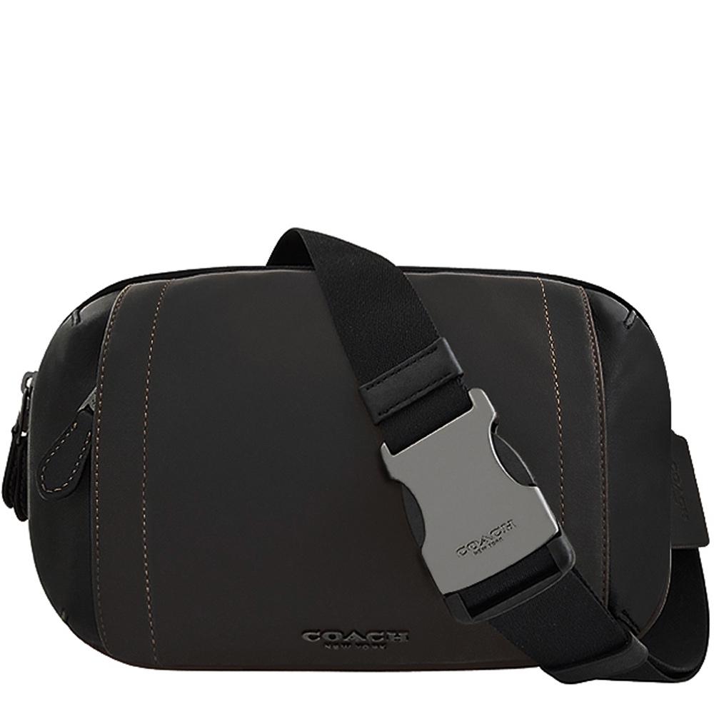 COACH 黑色皮革雙層腰包/單肩背兩用包