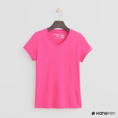 Hang Ten-女裝-有機棉-小V領純色T恤-桃紅