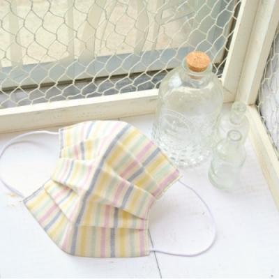 TEMARIYA 日本製 可水洗手作立體口罩M(直紋)-藍/紫