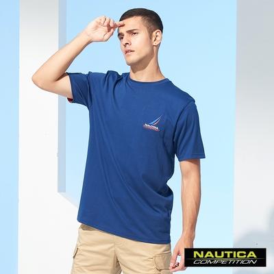 Nautica COMPETITION男裝簡約LOGO圖騰短袖T恤-藍
