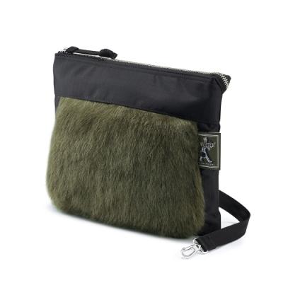 PORTER - 時髦微醺WINE O CLOCK時尚毛絨輕便斜肩包 - 綠