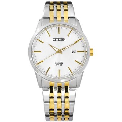 CITIZEN 礦石強化玻璃 日期 日本機芯 不鏽鋼手錶-銀x鍍金/39mm