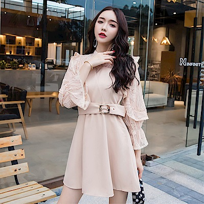 DABI 韓國風名媛蕾絲拼接收腰赫本風長袖洋裝