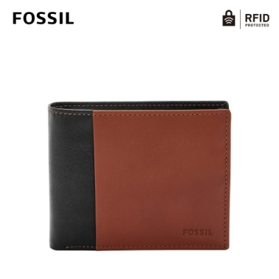 FOSSIL 母親節優惠 WARD 真皮證件格零錢袋RFID男夾-黑色X咖啡色 ML3919001