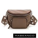 RABEANCO INA牛皮T型鏈條寬背帶斜背/腰包 咖