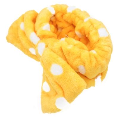 【89 zone】法式古典甜心蝴蝶毛巾卸妝髮帶(淺黃白點)