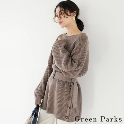 Green Parks 腰帶側扣設計澎袖長版針織上衣