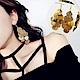 梨花HaNA 細緻秋葉金屬葉片垂飾耳環金色 product thumbnail 1