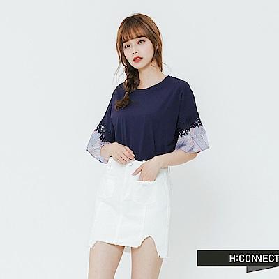 H:CONNECT 韓國品牌 女裝-繡花接袖造型上衣-藍