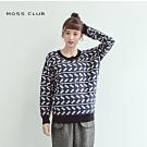 【MOSS CLUB】圓領造型寬鬆長袖毛衣(二色)