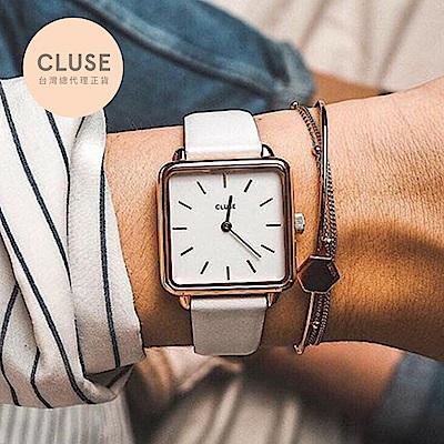 CLUSE LA GARCONNE 方框系列腕錶 (玫瑰金框/白面/白錶帶)